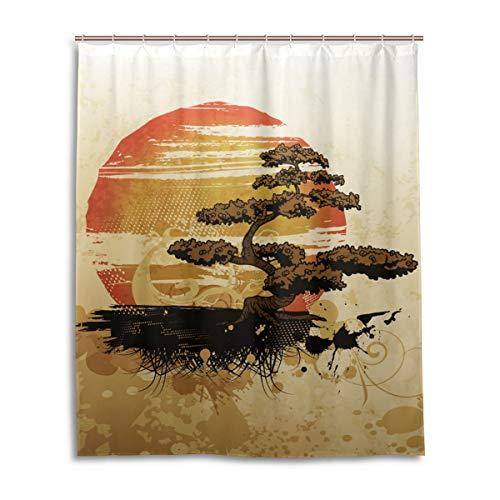 (Mohado Home Decor Shower Curtain with Hooks - Japanese Style Bonsai Tree - Bath Decorations Bathroom Décor Mildew Resistant Anti-Bacterial - 60 x 72)