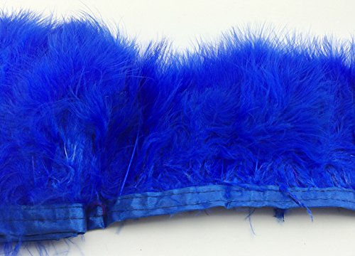 Turkey Feathers Trims Fringe With Satin Ribbon Tape for Dress Sewing Crafts Costumes Decoration Pack of 2 yards (royal blue)]()