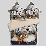 3D Animal Dog Duvet Cover (Queen 3PCS not Comforter, Color 5)