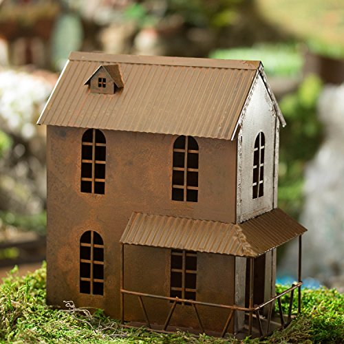 Miniature Rusty Primitive 2 Story Rusty Metal House with Patio for Fairy Gardens, Dollhouses, and Crafting