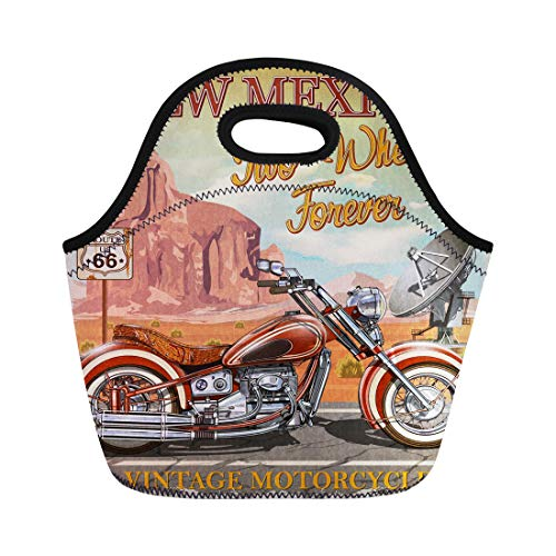Semtomn Lunch Bags Antique Road Vintage Route 66 New Mexico Motorcycle America Neoprene Lunch Bag Lunchbox Tote Bag Portable Picnic Bag Cooler Bag - Motorcycle 66 Highway Americas Route