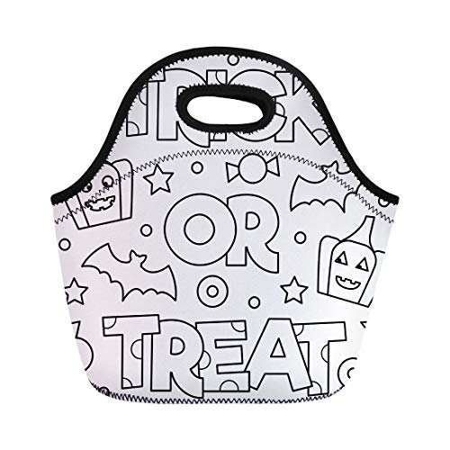 Semtomn Lunch Tote Bag Abstract Trick Treat Coloring Page Adorable Adult Antistress Bat Reusable Neoprene Insulated Thermal Outdoor Picnic Lunchbox for Men Women]()