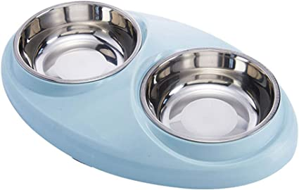 Amazon Com Double Dog Cat Bowls Stainless Steel Non Spill Dog Bowls With Mat Food Water Feeder Cats Small Dogs 40oz Sports Outdoors