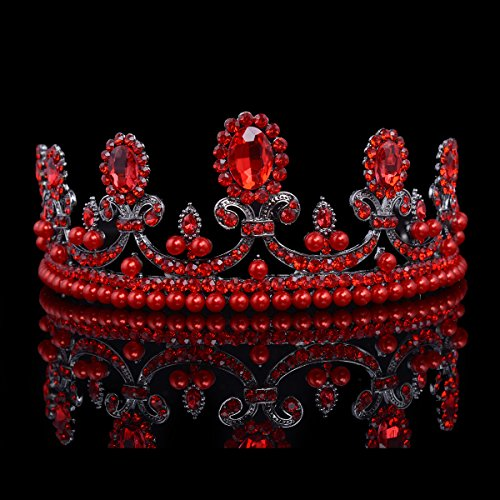 Casualfashion Casualfashion French Royal Queen Crown Baroque Vintage Rhinestone Tiara with Pearls Hair Jewelry (Red 1)