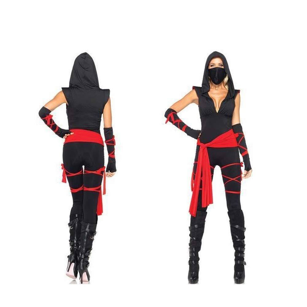Halloween Cosplay Set, Costume Femme Noir Sexy Low-Cut ...