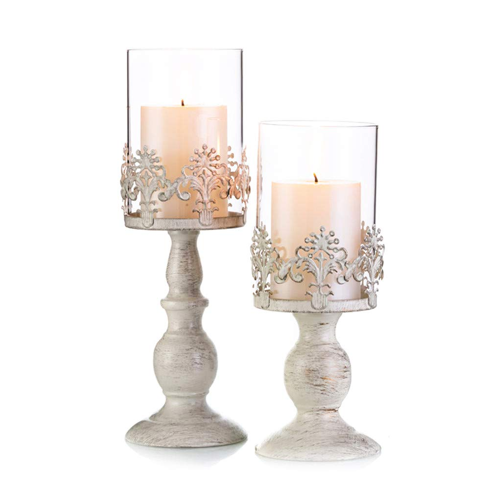 Pcs of 2 Vintage Metal Pillar Candle Holder Antique Hurricane Candlestick with Glass Screen Cover Accent Display for Home Wedding Candlelight Dinner Decoration (10.7'' H & 13'' H)