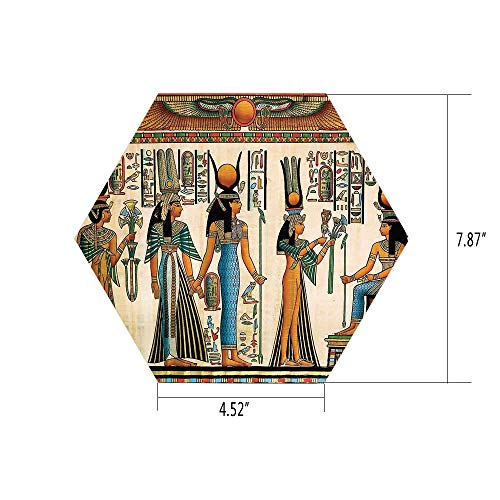 Hexagon Wall Sticker,Mural Decal,Egyptian,Egyptian Papyrus Depicting Queen Nefertari Making an Offering to Isis Image Print,Multicolor,for Home Decor 4.52x7.87 10 Pcs/Set ()