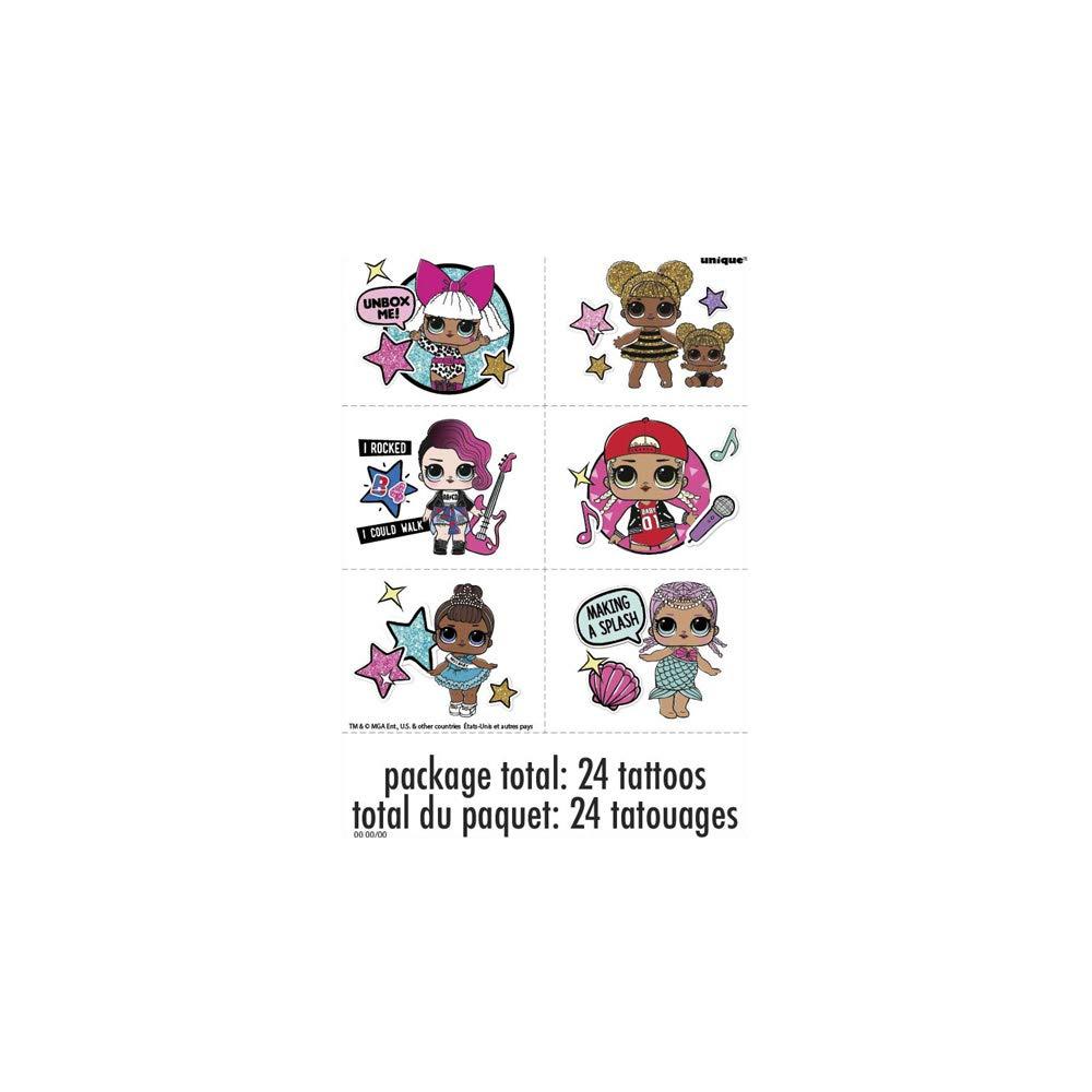Unique Industries 79118 Tattoo Sheets LOL Surprise 4 Per Package