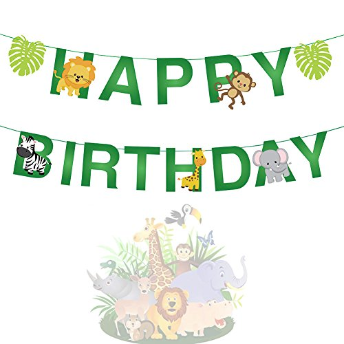 15pcs Jungle Animals Leaves Happy Birthday Banner Decoration for Woodland Garland Forest Theme Birthday Festival Party