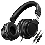 Sound Intone I8 Over-Ear Headphones with Microphone Bass Stereo Lightweight Adjustable Headsets for iPhone iPad iPod Android Smartphones Laptop Mp3 (Black)