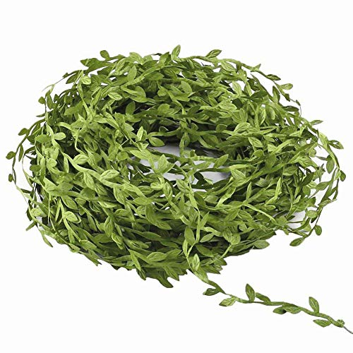 (MMkiss 65 Ft Artificial Vines,Artificial Eucalyptus Leaf Garland Fake Hanging Plants Leaves DIY Wreath Foliage Green Leaves Ribbon Decorative Wreath Accessory Wedding Wall Crafts Party Décor)