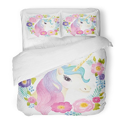 SanChic Duvet Cover Set Fairytale Unicorn Head in Wreath Flowers Watercolor Girl Birthday Party Decorative Bedding Set Pillow Sham Twin Size by SanChic