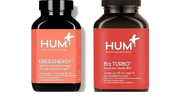 Amazon.com: Hum Nutrition Super Energy Vitamin Set! Includes One Bottle of Uber Energy & One Bottle of Vitamin B12 Turbo! Vegetarian Capsules!: