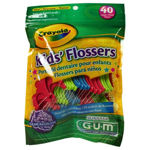 GUM Crayola Kids Flossers 40 Ct (Pack of 9) (assorted colors)