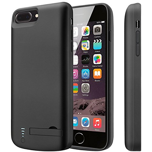 iPhone 7 Plus Battery Case, Cofuture 8000mAh ability Bank easily transportable Extended Battery Charger claim help support Lightning Headphone, Sync through by using Pop-Out Kickstand (iPhone 7 Plus 8 Plus Black)