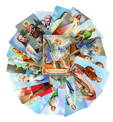 Pack of 54 Assorted Holy Cards with Catholic Saints and Prayers -