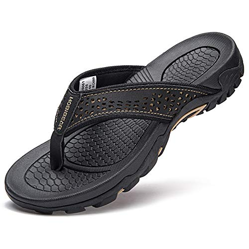 GUBARUN Mens Sport Flip Flops Comfort Casual Thong Sandals Outdoor(Black 1, 8.5)