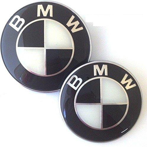 BMW Black White 82mm Hood Front & 73mm Trunk Rear Emblem Badge Logo self adhesive, 2pcs