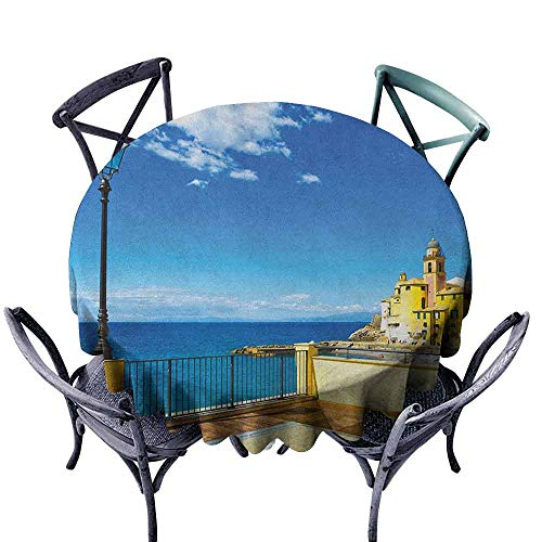 (G Idle Sky Italian Fitted Tablecloth Camogli Building Sea Lamp and Balcony Tourist Spot in Ligury Italy Print Indoor Outdoor Camping Picnic D63 Blue White and Yellow)