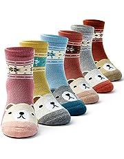 Girls Winter Socks Kids Warm Crew Socks Thick Cotton Thermal Cartoon Socks for Girls 6 Pairs