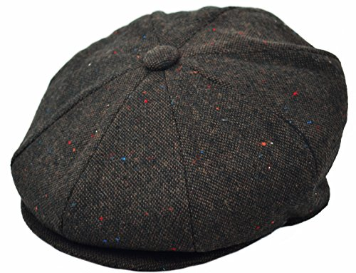 Men's Premium Wool Applejack Newsboy 8 Panel Hat Snap brim Cap (Large, Dark Brown Tweed)