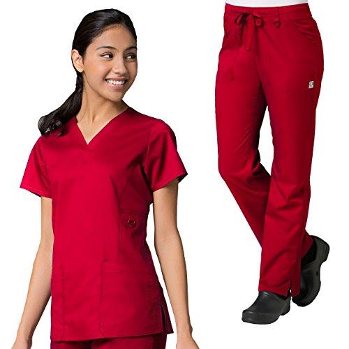 Fashion Womens Belt Focus (Maevn Eon Women's Active V-Neck Pocket Scrub Top & Full Elastic Zipper Pocket Cargo Scrub Pant Set)