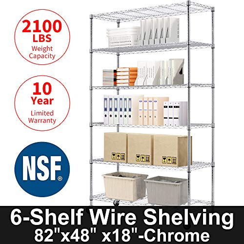 "Storage Metal Shelf 6 Tier 82""x48""x18"" Wire Shelving Unit with Wheels Sturdy Steel Layer Rack with Casters Heavy Duty for Restaurant Garage Pantry Kitchen Space-Saving Overall Chrome Kitchen Rack"