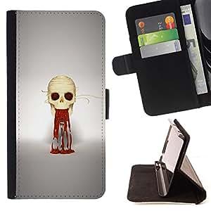 KingStore / Leather Etui en cuir / HTC One M7 / Puke cráneo