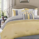 KUP 7 Pc Yellow, Grey, Queen Size Bed, Beautiful Comforter Set, Printed Adult Bedding Master Bedroom - Ultra Soft Microfiber