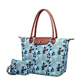 Crest Design Women's Stylish Waterproof Nylon Tote Handbag Travel Shoulder Beach Bag with Wristlet (Blue Forest)