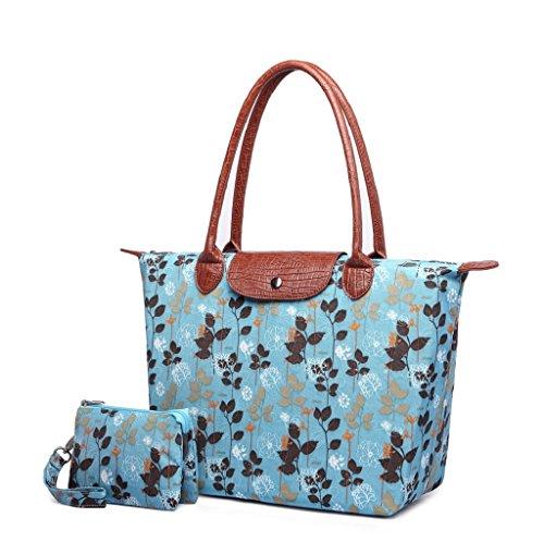 Crest Design Women's Stylish Waterproof Nylon Tote Handbag Travel Shoulder Beach Bag with Wristlet (Blue (Big Value Tote)