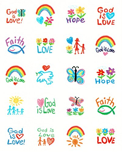 Carson Dellosa 5239 Kid-Drawn Christian Faith Shape Stickers, 120 stickers
