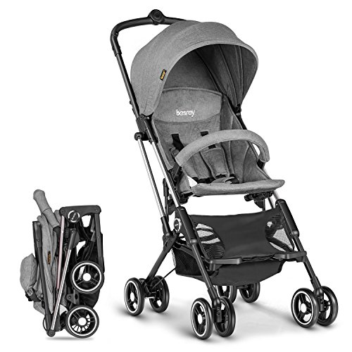Besrey Airplane Stroller One Step Design for Opening & Folding Lightweight Baby Stroller for Infant Convertible Baby Carriage – Gray