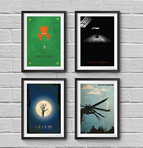 [Tim Burton and Johnny Depp Minimalist Poster Set 4 Movie in Set Alice in Wonderland Sweeney Todd Corpse Bride Edward Scissorhands Artwork Art Home Decor Wall Hanging Cool] (Sweeney Todd Halloween)