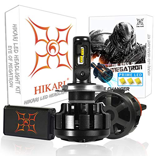 HIKARI Ultra LED Headlight Bulbs Conversion Kit -H4(9003), Prime LED 12000lm 6K Cool White,2 Yr - Plus White Xtreme H4