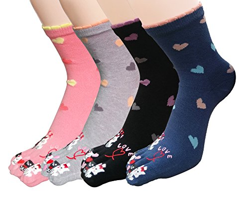 Urban CoCo Women Toe Socks Funky Finger Socks Lucky Cat Toes Socks (Mixed color-series (Lucky Match Socks)