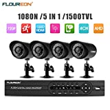 FLOUREON House Security Camera System 1080N DVR + 4 Pack 1.0MP CMOS Lens CCTV Security Camera 1500TVL Night Vision Remote Access Motion Detection (4CH+ 4X 1500TVL Camera)
