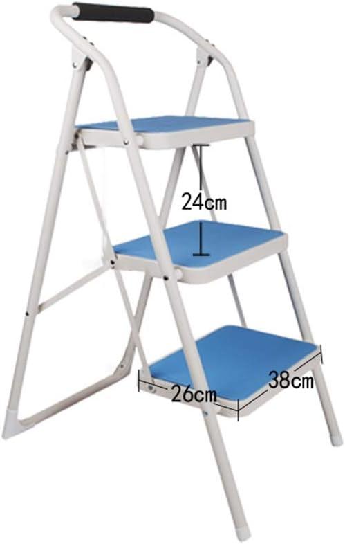 Bseack_store Escalera Escaleras, Arte Multifuncional del Hierro de la Escalera Unilateral del Doblez de 3 Pasos para la Escalera Interior del desván (Color : Azul): Amazon.es: Hogar