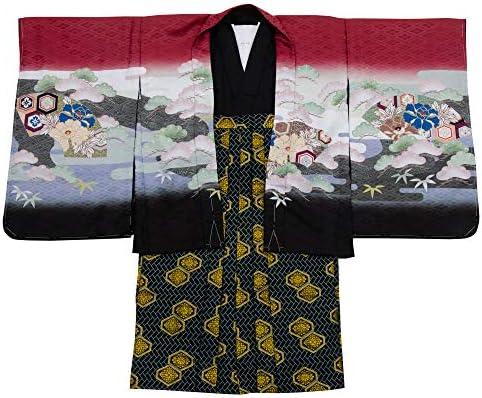 七五三 着物 男の子 五歳 13点フルセット 羽織袴セット 兜 レッド 赤 totalset-00010-5-60cm