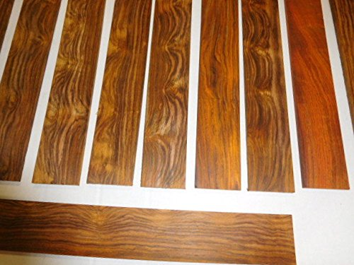 ONE cocobolo quartersawn, sanded fingerboard 14'' long x 2'' wide x 1/4'' thick, kd by Diamond Tropical Hardwoods