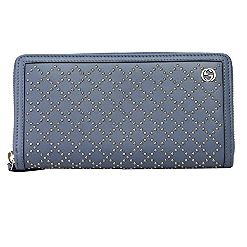 Gucci Blue leather W/studs Long Wallet 308021 Zip Around