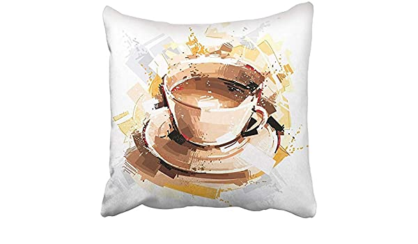Pillow Covers Print Brown Painting Coffee Energy White Color ...