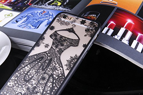 König-Shop Handy Hülle Mandala für Apple iPhone 8 Plus Design Case Schutzhülle Motiv Kleid Cover Silikon Tasche Bumper Schwarz