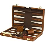 15''x19'' Backgammon Set Brown White Faux Leather Portable Travel Folding Case NEW