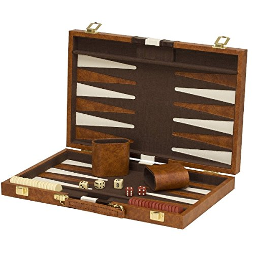 15''x19'' Backgammon Set Brown White Faux Leather Portable Travel Folding Case NEW by MEE TONG SHOP