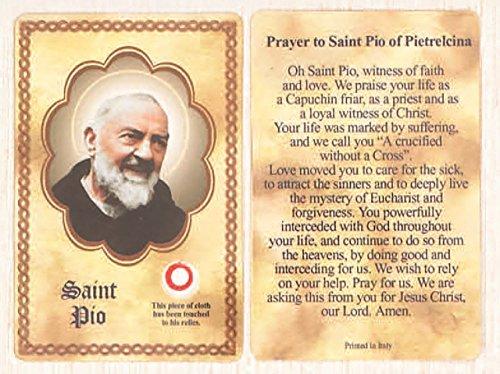 St. Padre Pio relic card
