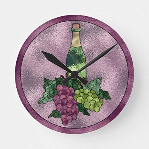 OSWALDO Purple Green Faux Stained Glass Wine and Grapes Decorative Round Wooden Wall Clock - 12 inch