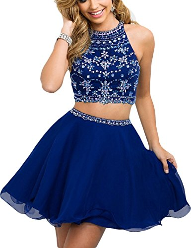 Blue Women's Two Fanciest Royal Homecoming Beaded Dress Short Prom Pieces Cocktail Dresses wPPTSqd