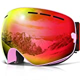 COPOZZ Ski Goggles, G1 OTG Snowboard Snow Goggles for Men Women Youth Anti-Fog UV Protection, Polarized Lens Available (G1 Ski Goggles Pink Frame/Red Lens (VLT 20.5%), G1 Ski Goggles)