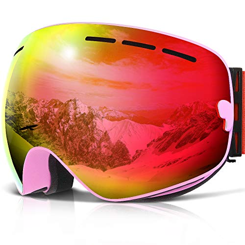 COPOZZ Ski Goggles, G1 Mens Womens Ski Snowboard Snowboarding Goggles - Over Glasses Double Lens Anti Fog Frameless,Cool REVO Mirror Red Pink for Men Women Youth Snowmobile Skiing